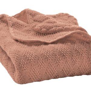 Couverture Rose en laine mérinos Disana