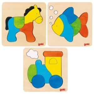 Puzzles cheval, poisson et locomotive GOKI