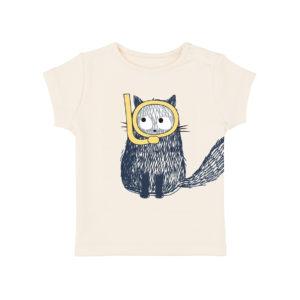 T-shirt blanc chat plongeur – La queue du chat